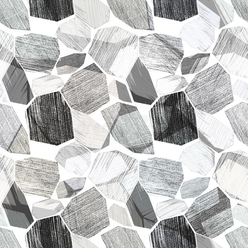 Seamless abstract geometric modern pattern.Black and white background. stock illustration