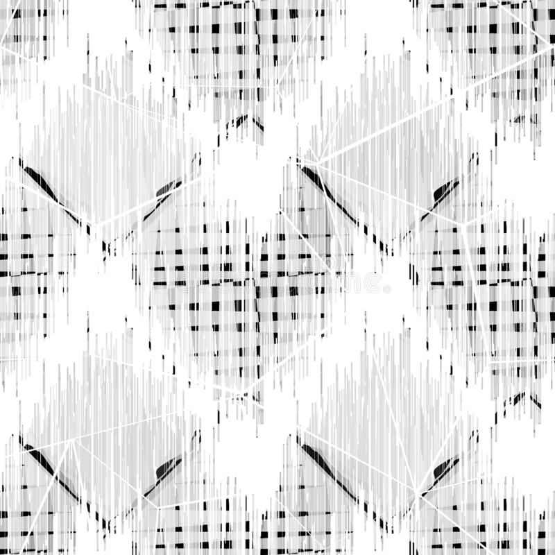Seamless abstract geometric monochrome pattern.Black and white ornament on a gray background. vector illustration