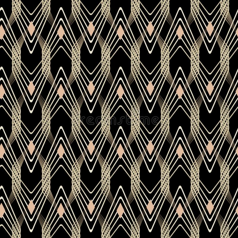 Abstract Art Deco Geometric Seamless Patterns Stock Vector