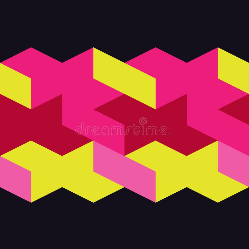 Seamless abstract geometric pattern. 3D cubes. Mosaic texture. stock illustration