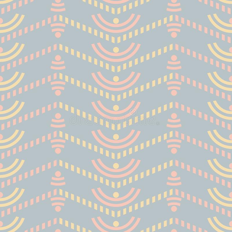 Seamless uncomplicated pattern with striped zigzag. Seamless abstract geometric pattern in pastel colors. Cute uncomplicated vector print with striped zigzag vector illustration
