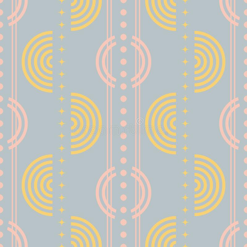 Retro disco style seamless geometric pattern in pastel colors. Seamless abstract geometric pattern in pastel colors. Retro disco style vector print stock illustration
