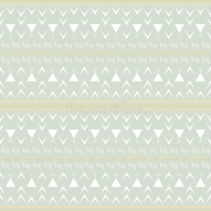 Simple seamless geometric pattern with stripes, T and V shapes. Seamless abstract geometric pattern in pastel colors. Simple vector print with stripes, T and V royalty free illustration