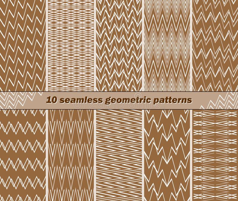 10 seamless abstract geometric patterns in brown and white color stock illustration