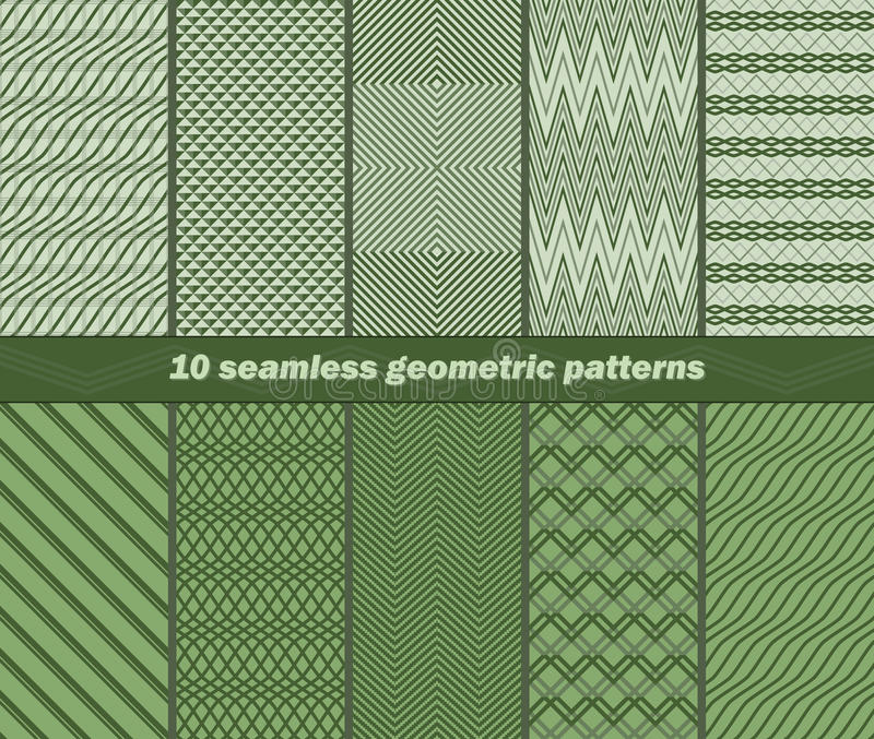 10 seamless abstract geometric patterns in green colors royalty free illustration