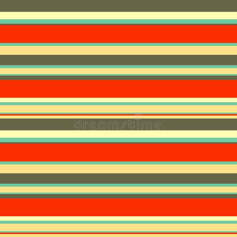 Seamless abstract geometric stripes vector pattern background with colorful horizontal lines red orange brown beige aqua blue stock illustration