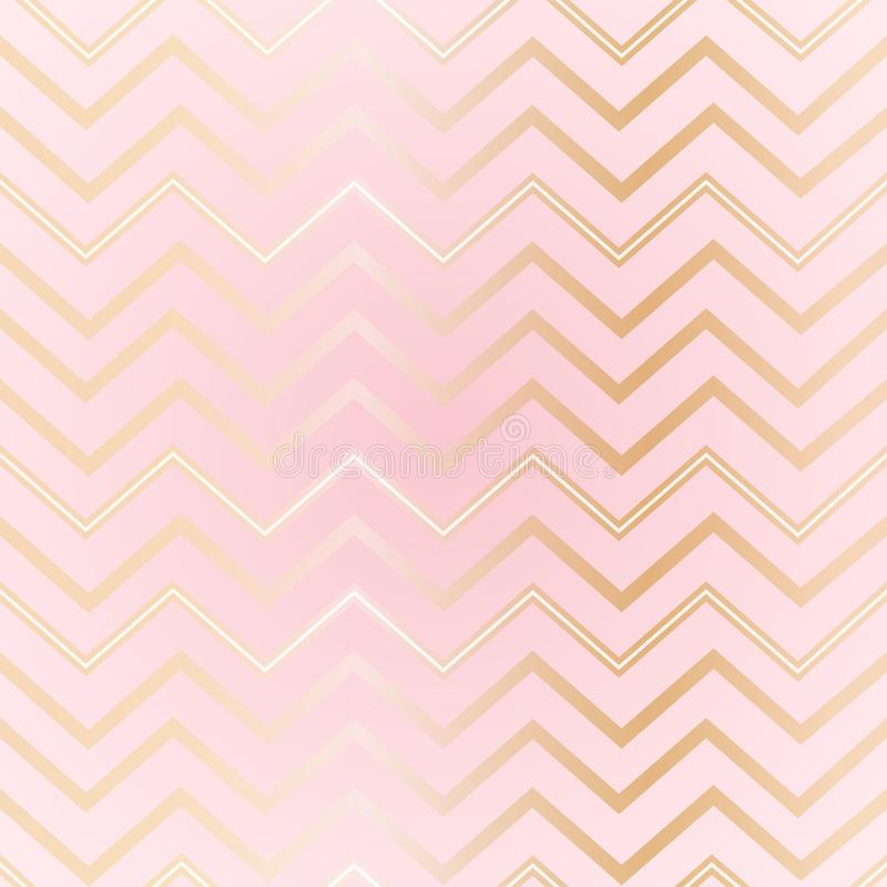 Seamless abstract geometric zigzag pattern Elegant luxury golden lines on a light pink background Girls pattern zigzag print stock illustration