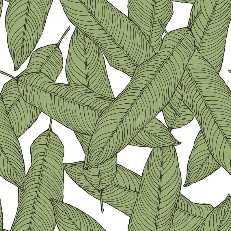 Seamless abstract green leaves pattern on white, foliage vector, illustration  background vector illustration