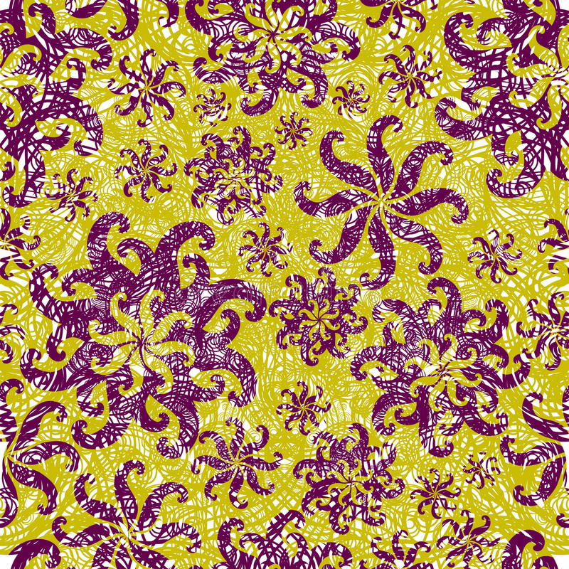 Seamless abstract grunge floral twirl pattern
