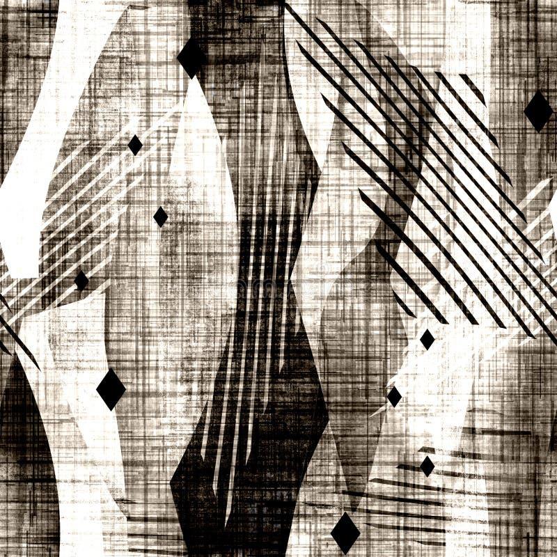 Seamless abstract grunge geometric pattern. stock illustration