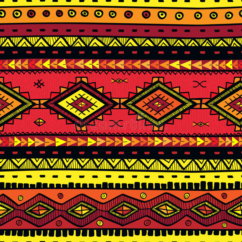 Seamless abstract hand-drawn ethno pattern, tribal background. royalty free illustration