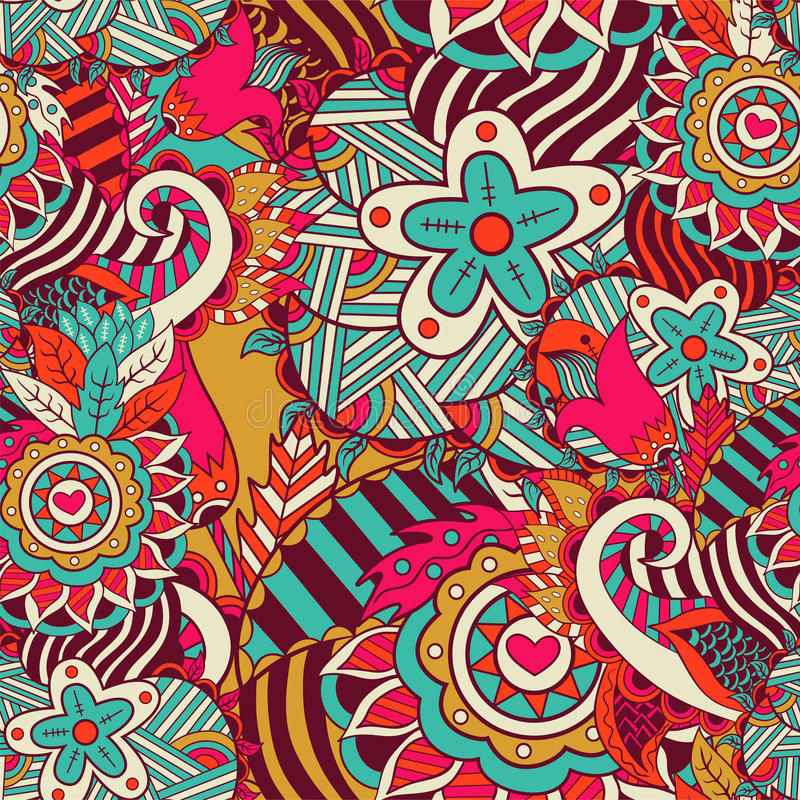 Seamless abstract hand-drawn flower pattern vector illustration
