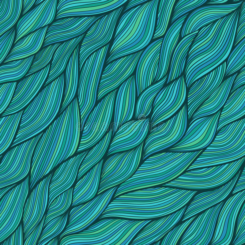 Seamless abstract hand-drawn pattern, waves background stock illustration