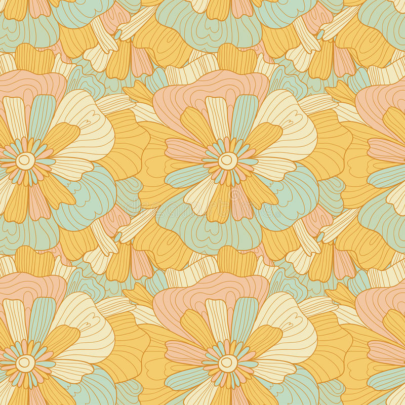 Seamless abstract hand-drawn waves and flowers pattern, wavy background. vector illustration