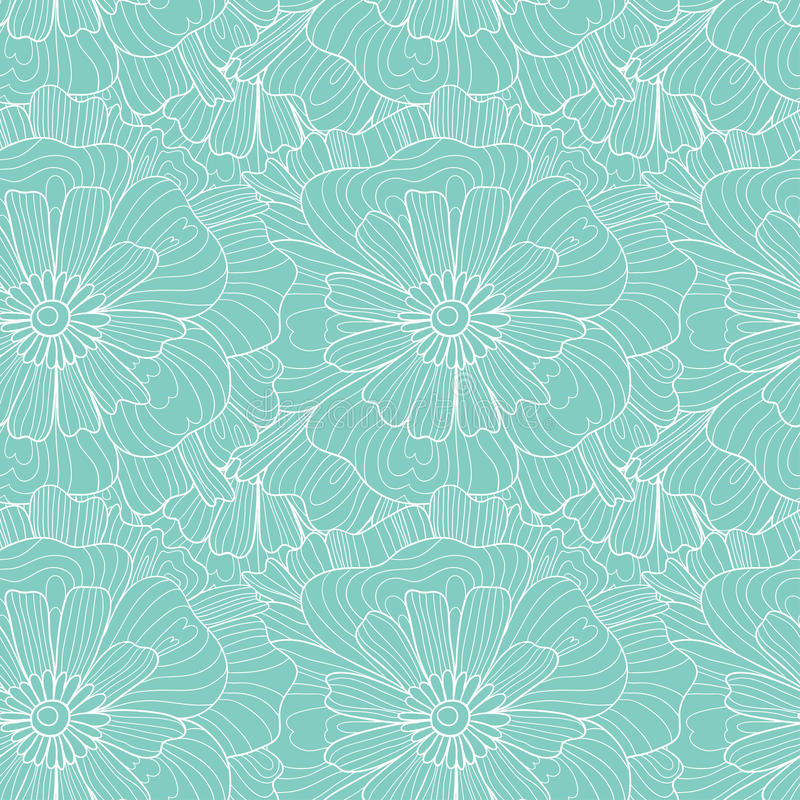 Seamless abstract hand-drawn waves and flowers pattern, wavy background. royalty free illustration