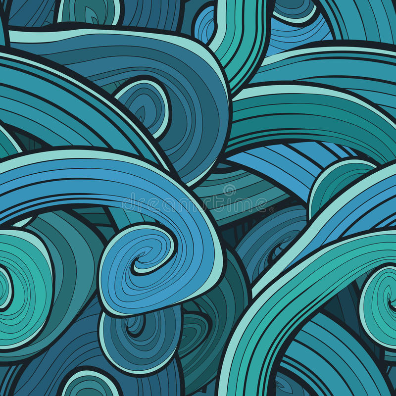 Seamless abstract hand drawn waves pattern. Wavy royalty free illustration