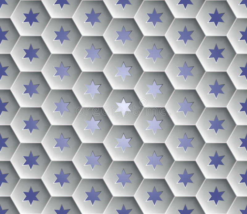 Seamless abstract honeycomb background - hexagons. Each cell hole in a six-pointed star. stock illustration