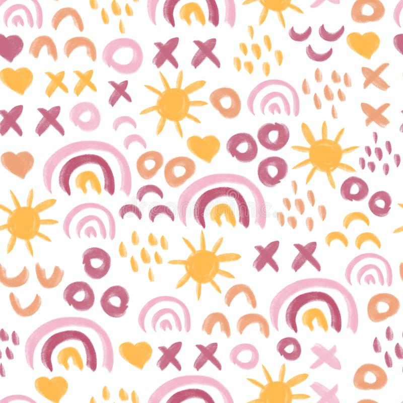 Seamless abstract kids painted sun and rainbow pattern. Doodle background children. Hand drawn repeating simple.  royalty free stock photography
