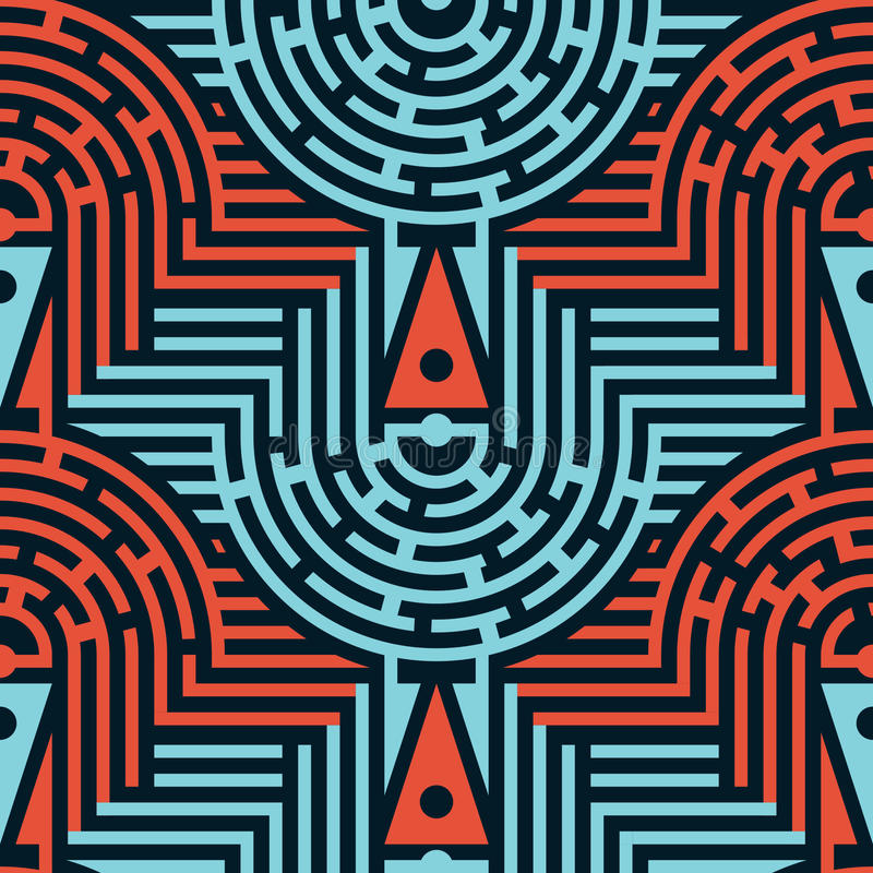Seamless Abstract Maze Pattern in Blue and Red Colors. Mix of Stripes. Vector Illustration for Textile Design vector illustration