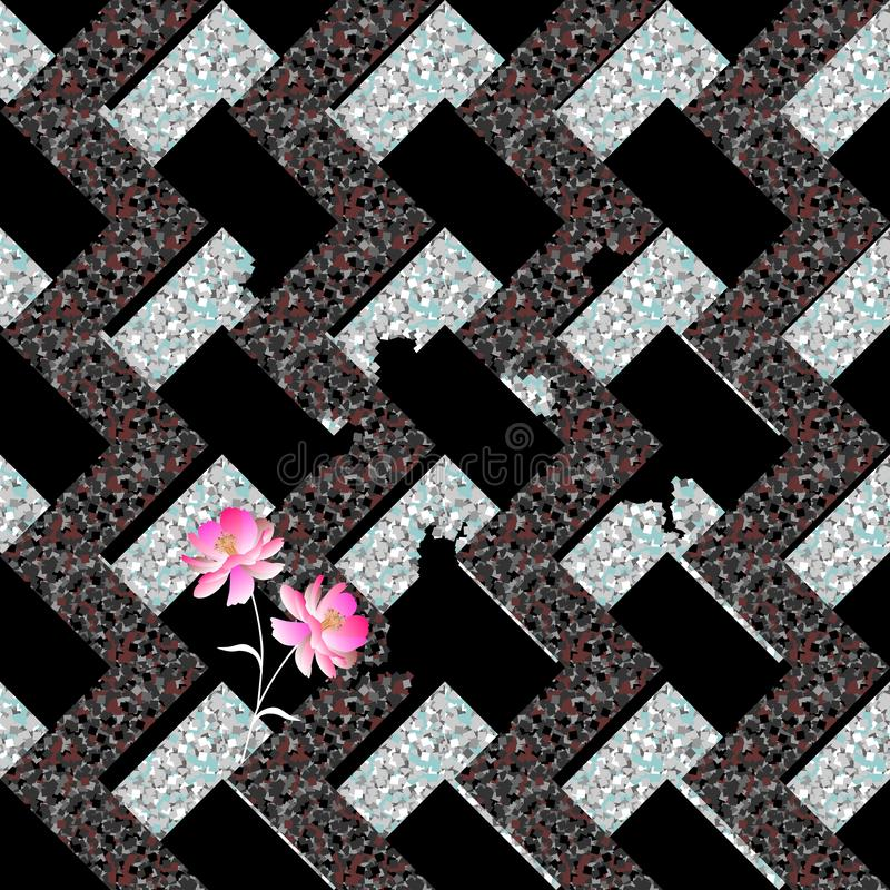 Seamless abstract metal collapsing labyrinth and gentle pink flowers on black background. Colorful geometric pattern. vector illustration
