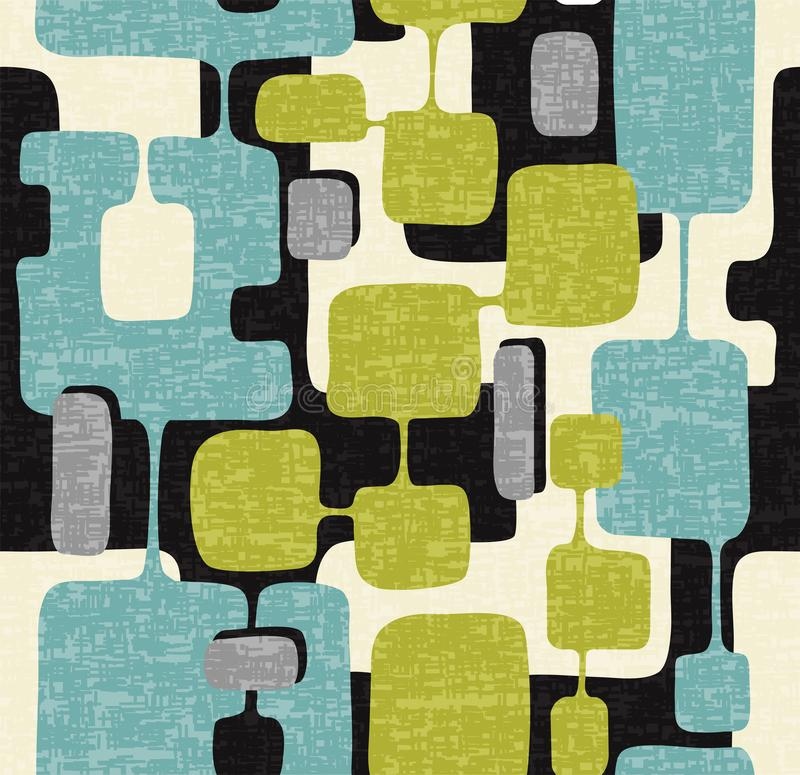 Seamless abstract mid century modern pattern. Retro design of connected overlaying rectangle shapes. royalty free illustration