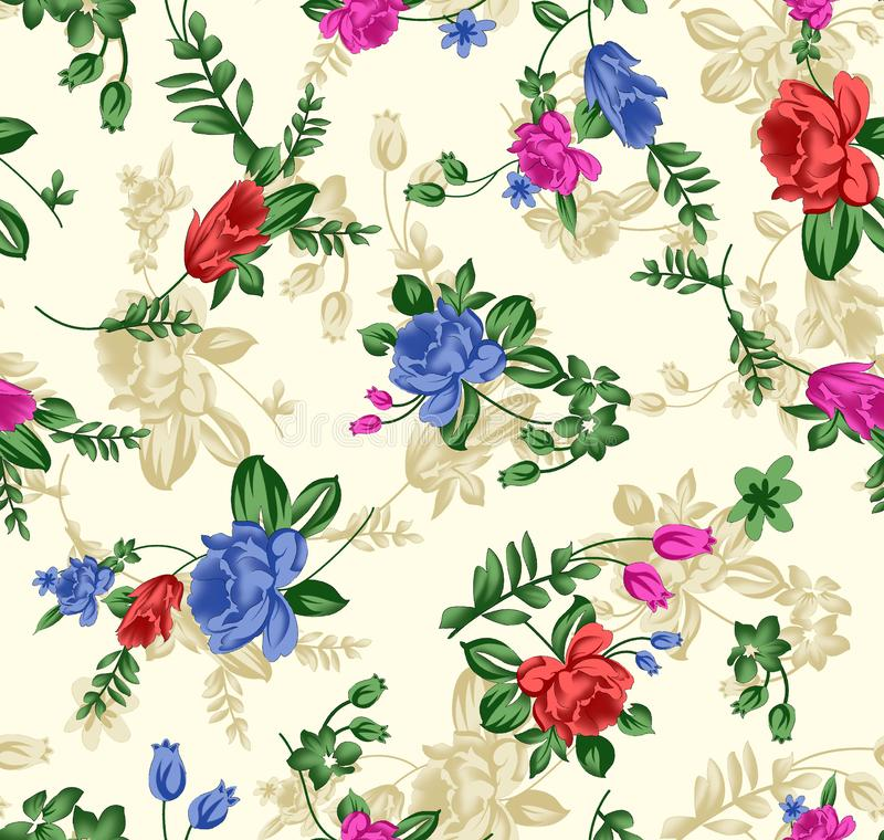 Seamless Abstract Multi Color Flower pattern on Cream ground textile pattern. This is image of Seamless Abstract Multi Color Flower pattern on Cream ground stock illustration