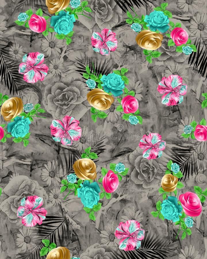 Seamless Abstract Multi Color Flower pattern on grey ground textile pattern. This is image of Seamless Abstract Multi Color Flower pattern on grey ground textile stock illustration