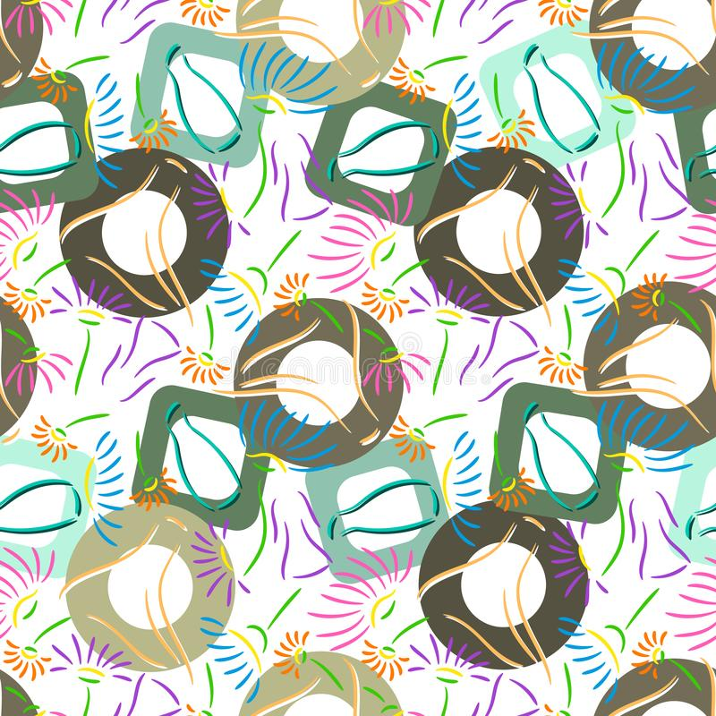 Seamless abstract original multicolored pattern with shapes stock photo