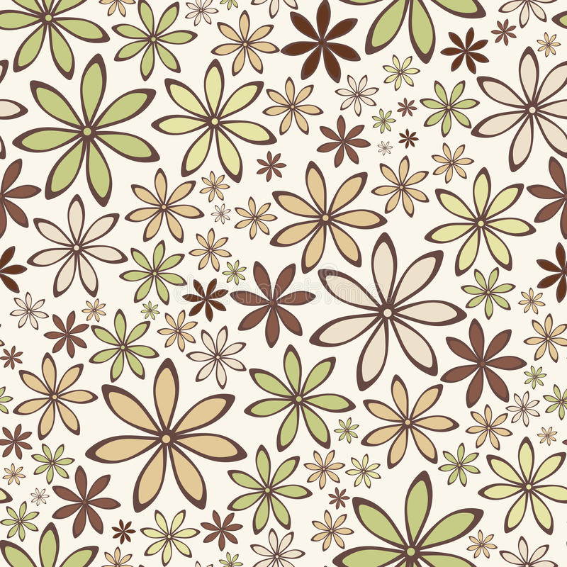 Seamless abstract pattern with beige and green flowers. Vector illustration. royalty free illustration