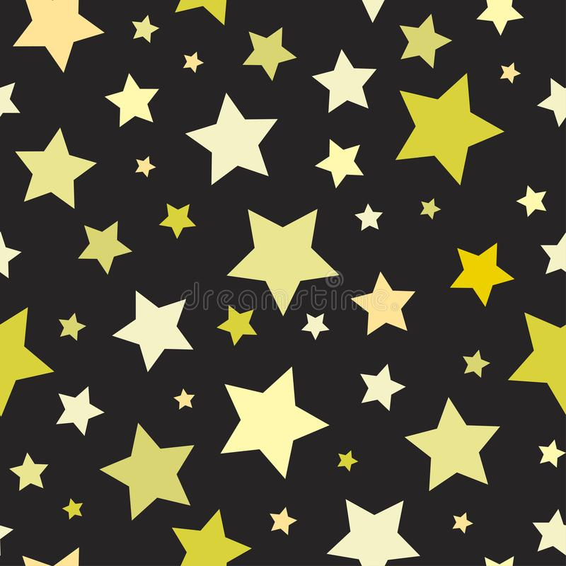 Seamless abstract pattern with big sharp yellow stars on black background. Vector Halloween illustration. stock illustration