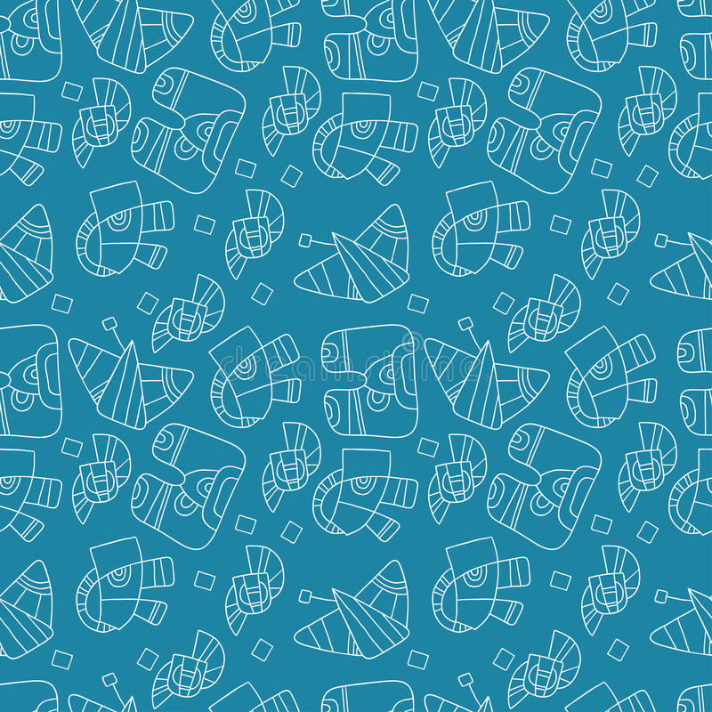 Seamless abstract pattern on a blue background