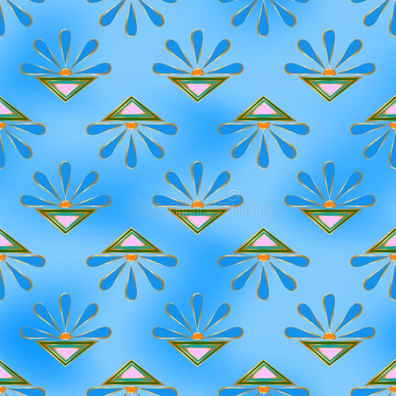 Seamless abstract pattern of blue suns and color triangles, golden outline, on a spotted blue sky background stock illustration