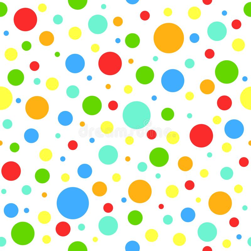 Seamless abstract pattern with bright little and big circles with outline on white background. stock illustration