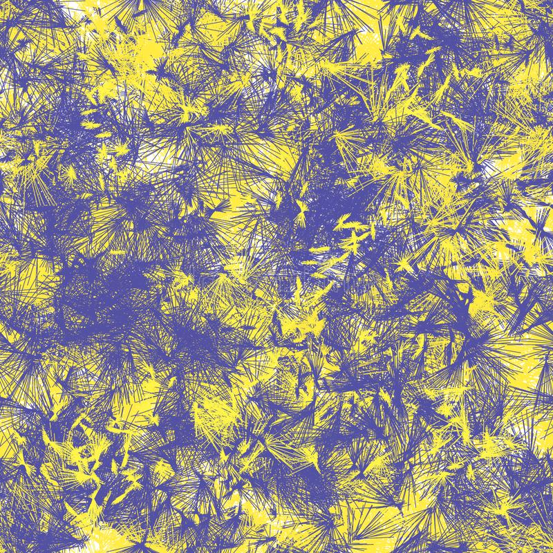 Seamless abstract pattern of colored shapes. Yellow and blue bristle-like lines. royalty free illustration