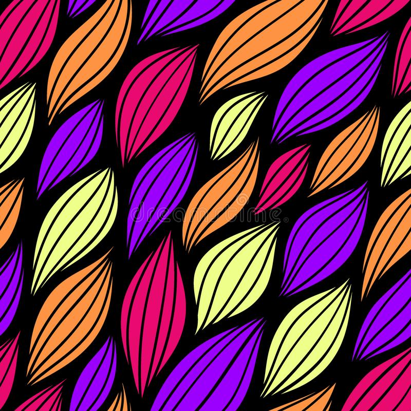 Seamless abstract pattern with colorful petals. Vector illustration with leaves. royalty free illustration
