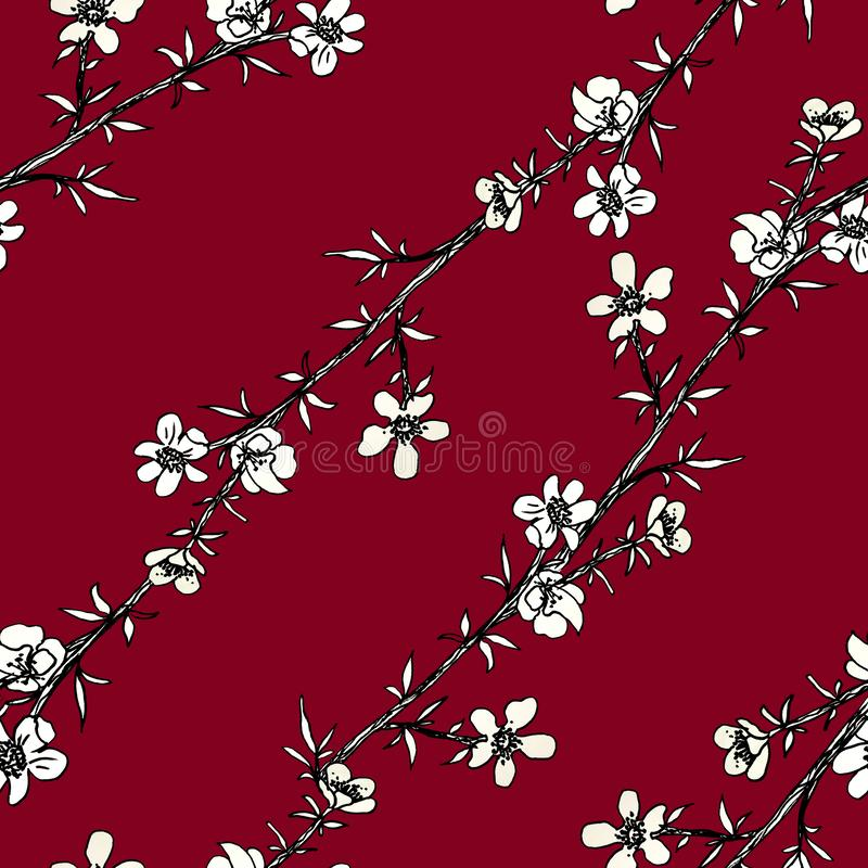 Seamless abstract pattern of decorative flowers. Cute sakura twigs. Print for fabric and other surfaces. illustration drawn by. Hand with ink and black pen vector illustration