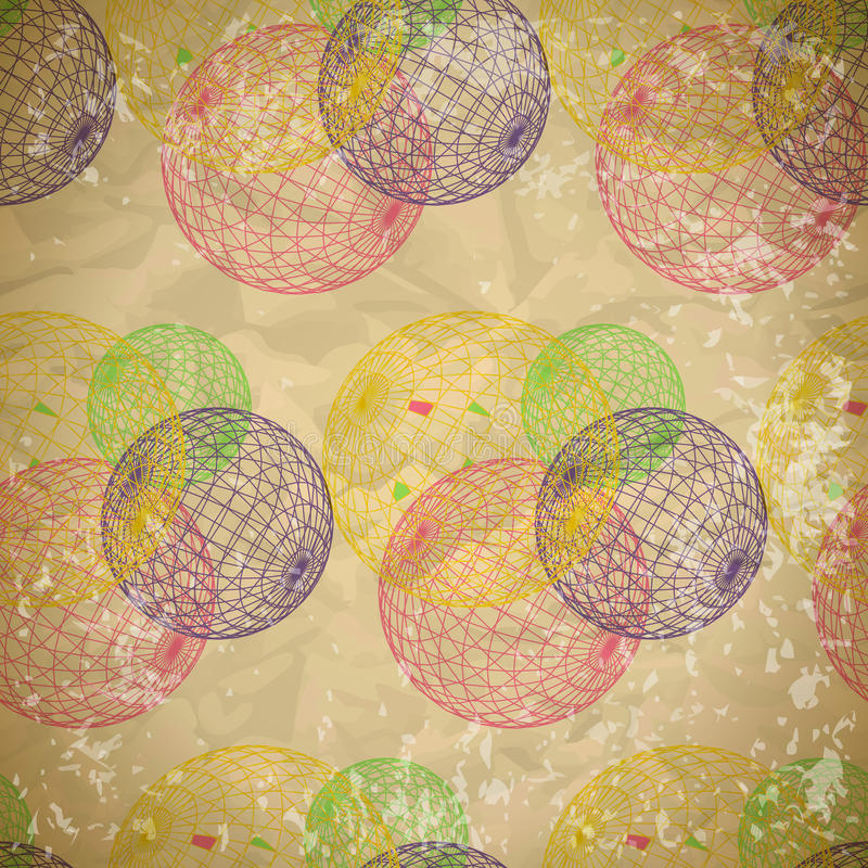 Seamless abstract pattern of faded paper with mesh balls vector illustration