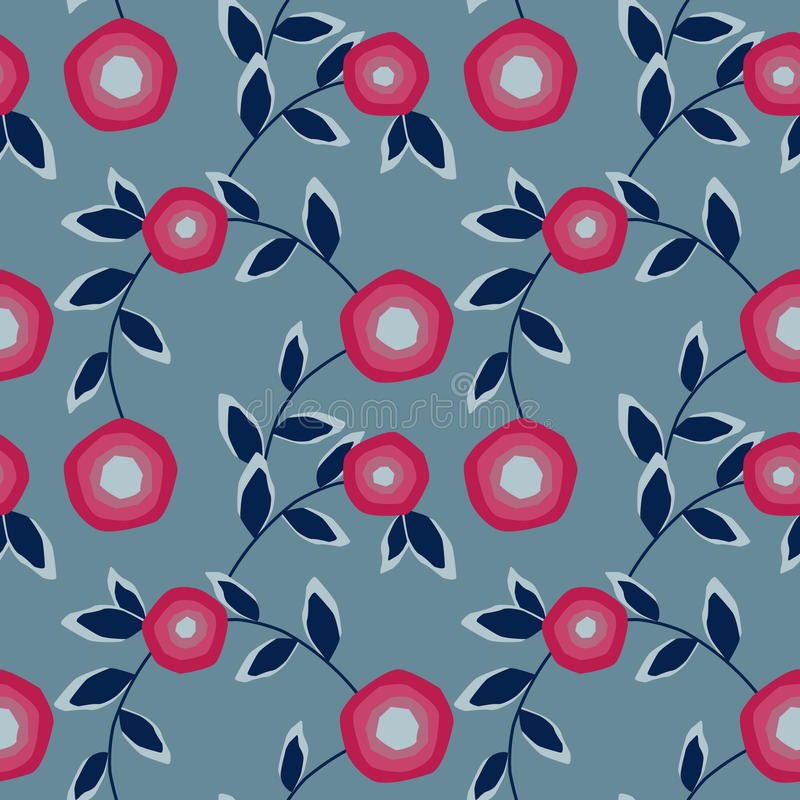 Seamless abstract pattern with flowers ornament on light blue background vector illustration