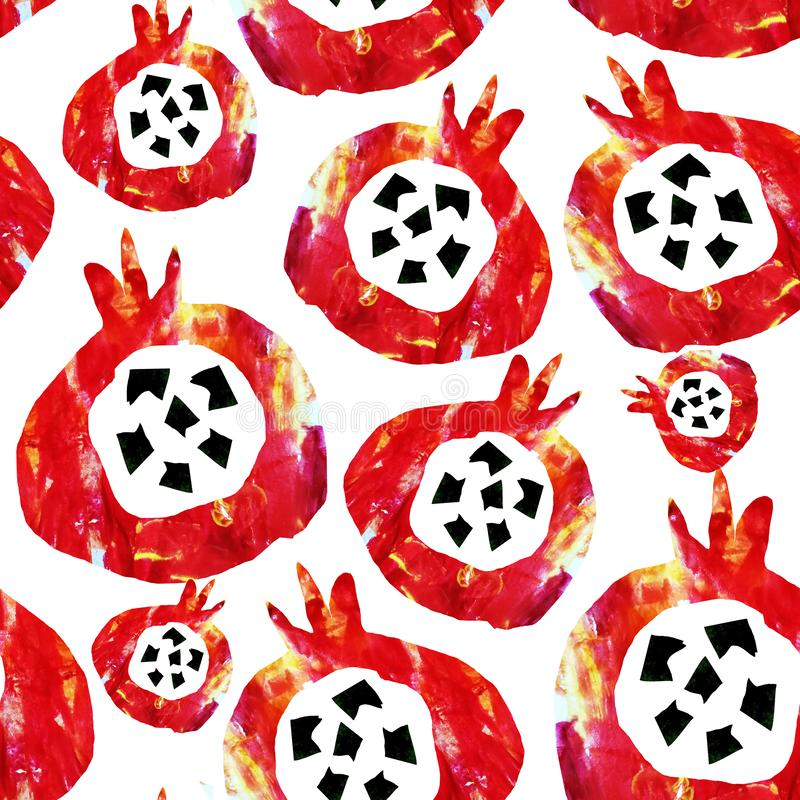 Seamless abstract pattern. Fruits are made in the technique of a collage of watercolor background. Drawn by hand. Decorative. Pomegranate on a white background stock illustration