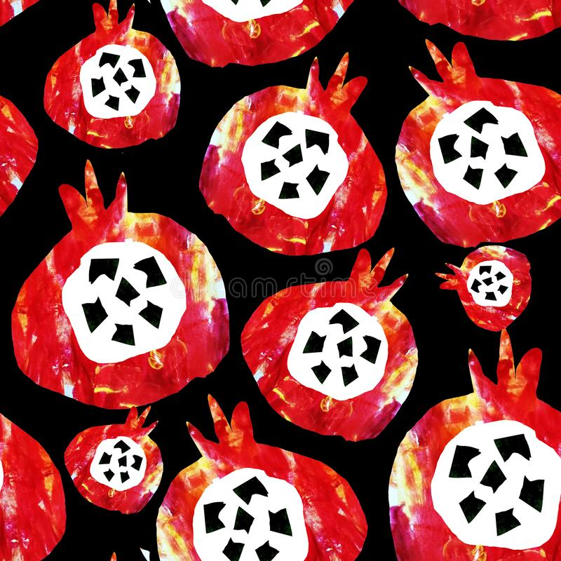 Seamless abstract pattern. Fruits are made in the technique of a collage of watercolor background. Drawn by hand. Decorative. Pomegranate on a black background royalty free illustration