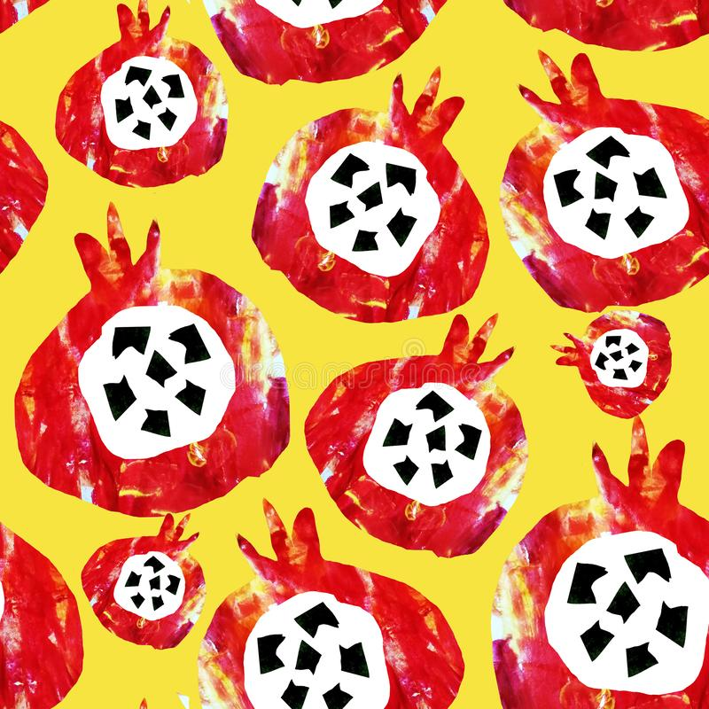 Seamless abstract pattern. Fruits are made in the technique of a collage of watercolor background. Drawn by hand. Decorative. Pomegranate on a yellow background vector illustration