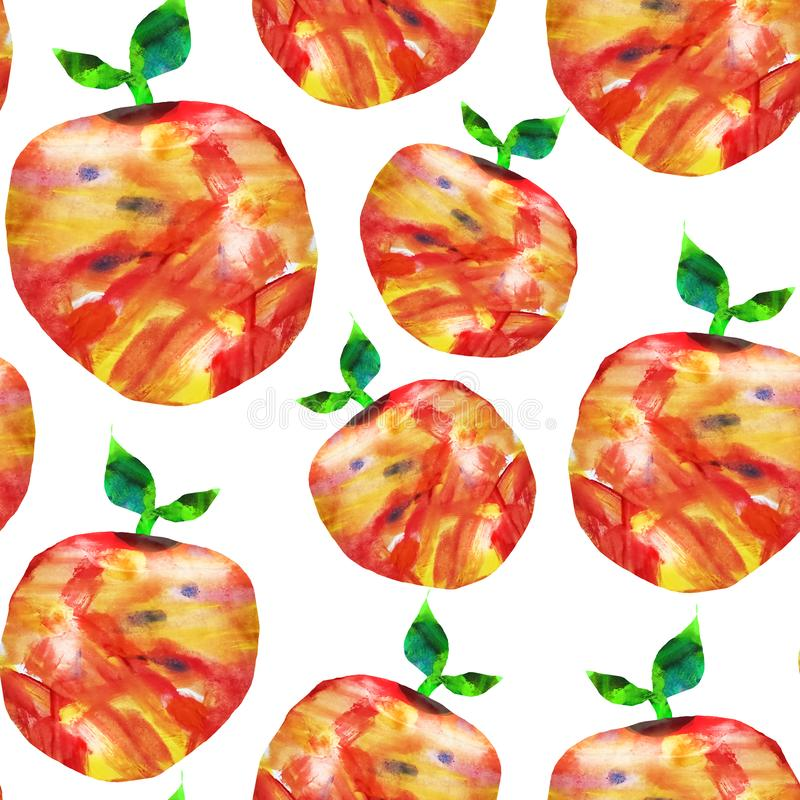 Seamless abstract pattern. Fruits are made in the technique of a collage of watercolor background. Drawn by hand. Decorative apple. On a white background, hand stock illustration