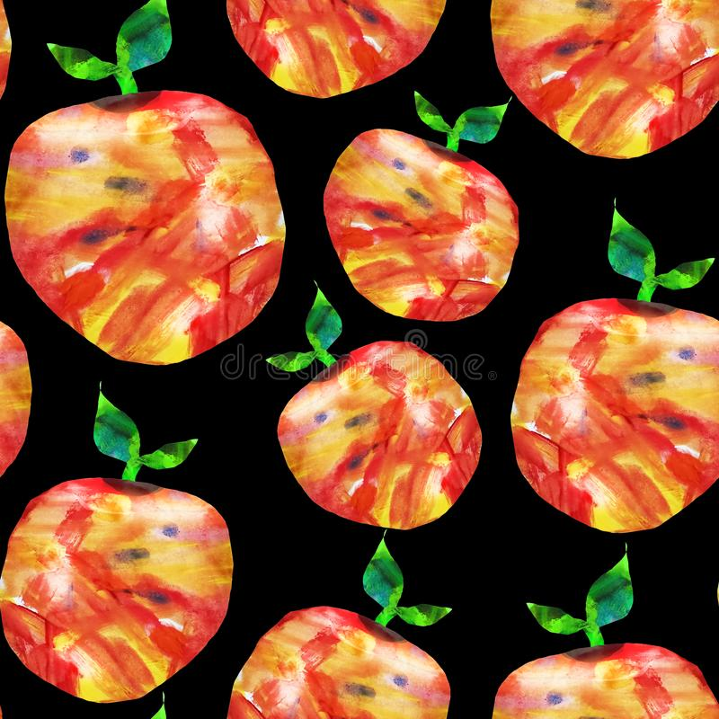 Seamless abstract pattern. Fruits are made in the technique of a collage of watercolor background. Drawn by hand. Decorative apple. On a black background, hand vector illustration