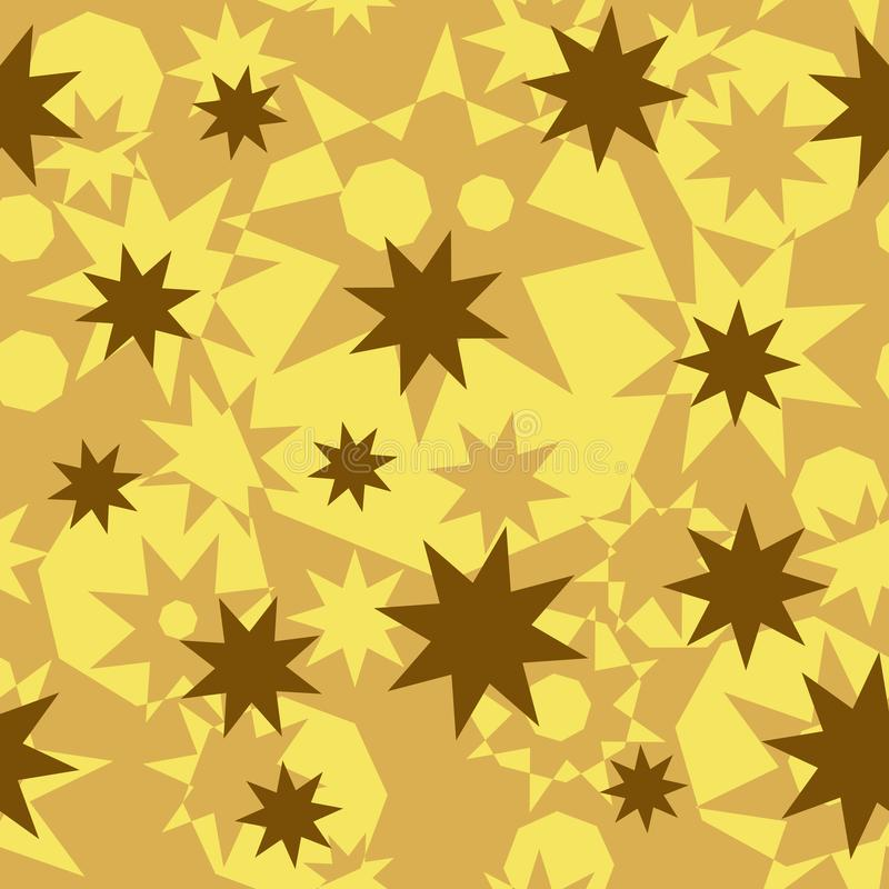 Seamless abstract pattern of geometric polygonal shapes. Gold, beige, ocher octagonal stars and octagons. stock illustration