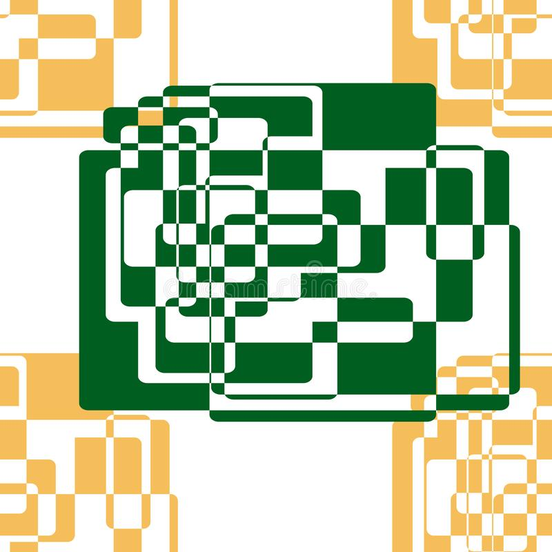 Seamless abstract pattern of geometric shapes. Green and gold elements created from rectangles. vector illustration