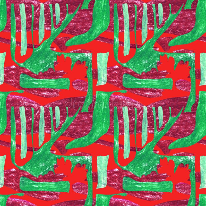 Seamless abstract pattern. Green geometric shapes on a red background with burgundy spots. Contrasting rhythmic ornament with sharp elements stock photos