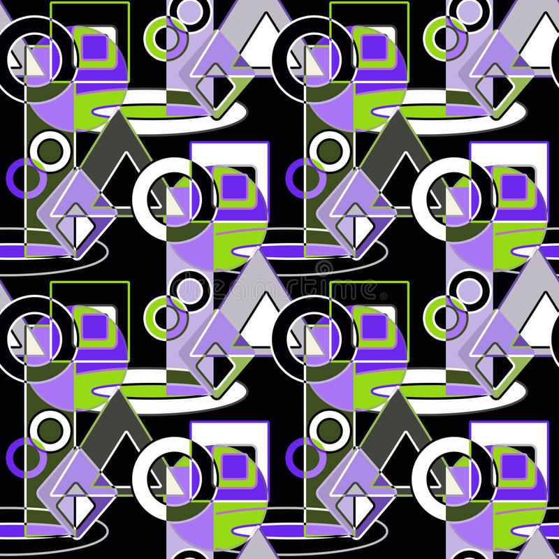 Seamless abstract pattern green, grey, white, lilac geometric shapes vector illustration