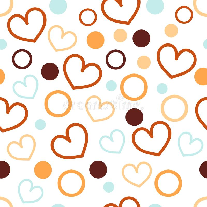 seamless abstract pattern with heart and circle, cute wallpaper on the white background for textile printing or advertising stock image