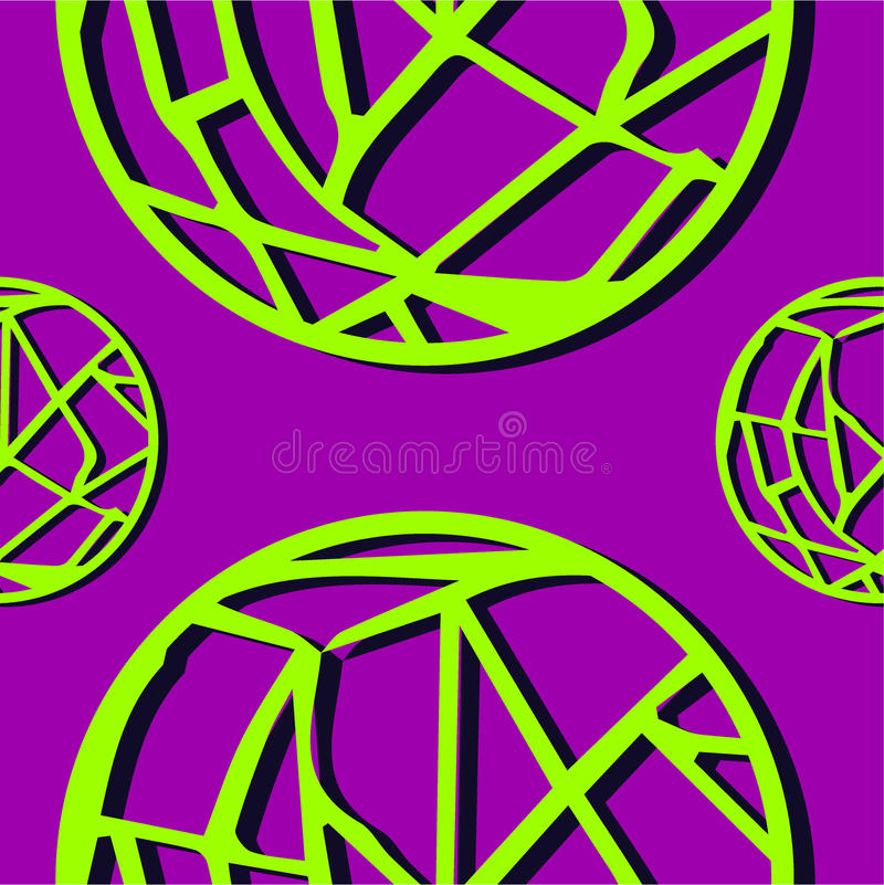 Seamless abstract pattern lime circles-webs. On purple background vector illustration