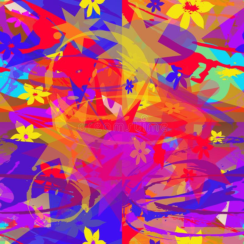 Seamless abstract pattern of multicolored elements. Seamless abstract pattern of multicolored elements in the form of flowers, stars, lines, spots. Bright stock illustration